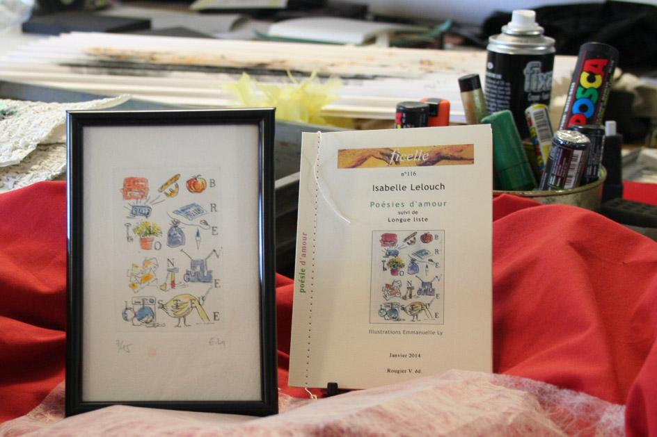 Cadre et livre Poésie d'amour